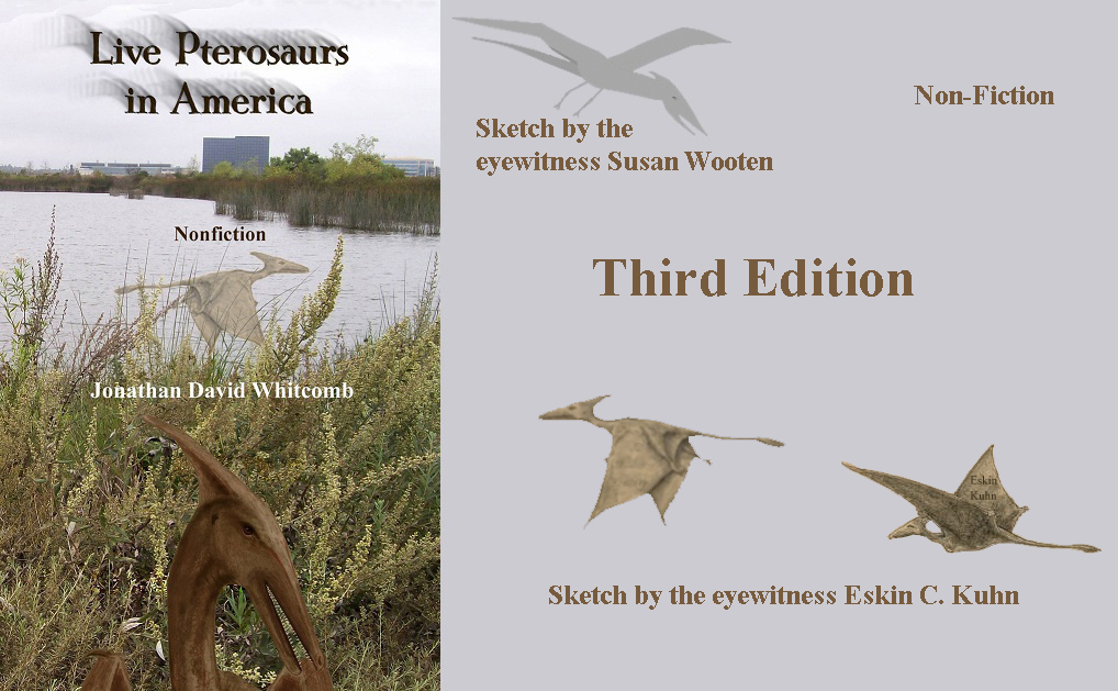 non-fiction book cover - Live Pterosaurs in America - third edition - with sketches