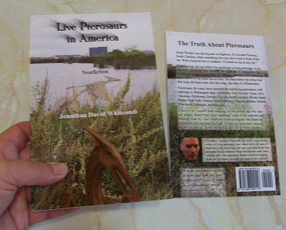 "book cover ""Live Pterosaurs in America"" - third edition in cryptozoology nonfiction genre"