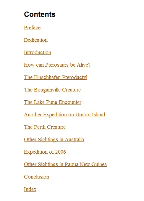 "Table of Contents for ""Live Pterosaurs in Australia and in Papua New Guinea"""