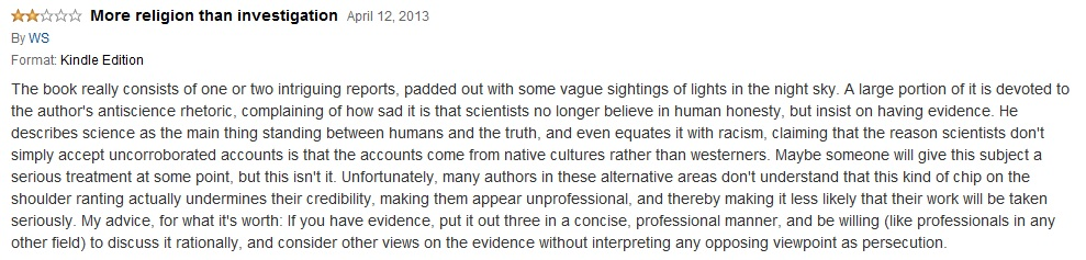 "negative book review on ""Live Pterosaurs in Australia and in Papua New Guinea"" - published on Amazon on April 12, 2013"