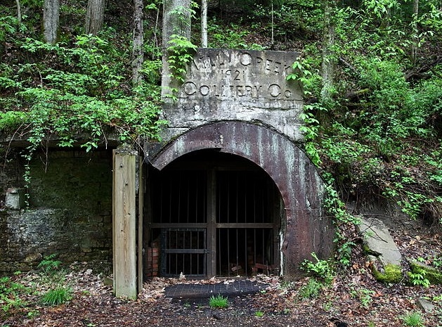 gated entrance to an abandoned mine in WV