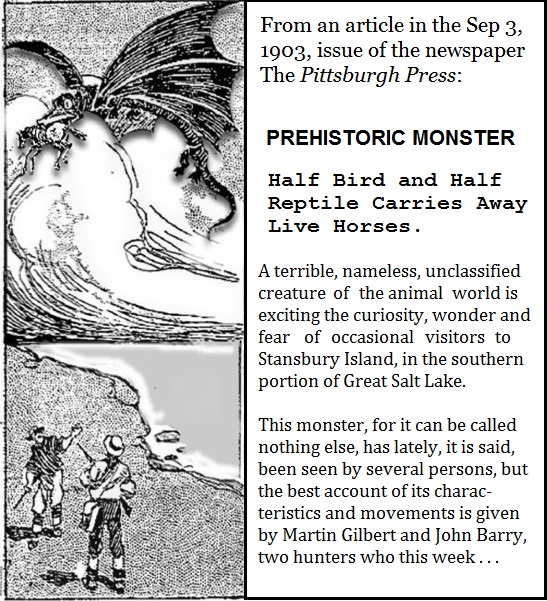 """Prehistoric Monster"" newspaper article of 1903: the Pittsburgh Press"